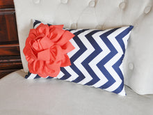 Load image into Gallery viewer, Decorative Nursery Pillow Coral Flower on Aqua Chevron Lumbar Pillow - Daisy Manor
