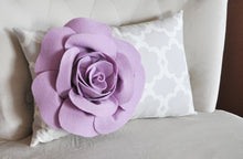 Load image into Gallery viewer, Lumbar Pillow Lilac Rose on Neutral Gray Tarika Lumbar Pillow 9 x 16 -Lattice Trellis- - Daisy Manor