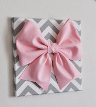 "Load image into Gallery viewer, Large Light Pink Bow on Gray and White Chevron 12 x12"" Canvas Wall Art- Baby Nursery Wall Decor- Zig Zag - Daisy Manor"