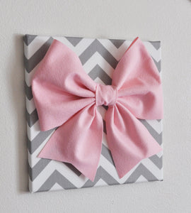 "Large Light Pink Bow on Gray and White Chevron 12 x12"" Canvas Wall Art- Baby Nursery Wall Decor- Zig Zag - Daisy Manor"