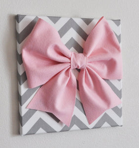 "Set of Two Large Light Pink Bow on Gray and White Chevron 12 x12"" Canvas Wall Art- Baby Nursery Wall Decor- Zig Zag - Daisy Manor"