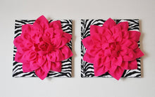 "Load image into Gallery viewer, Two Wall Flowers -Hot Pink Dahlia Flowers on Black and White Zebra Print 12 x12"" Canvas Wall Art- Baby Nursery Wall Decor- - Daisy Manor"