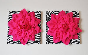 "Two Wall Flowers -Hot Pink Dahlia Flowers on Black and White Zebra Print 12 x12"" Canvas Wall Art- Baby Nursery Wall Decor- - Daisy Manor"