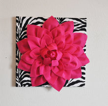 "Load image into Gallery viewer, Hot Pink Wall Hanging -Hot Pink Dahlia on Zebra Print 12 x12"" Canvas Wall Art- Baby Nursery Wall Decor- - Daisy Manor"