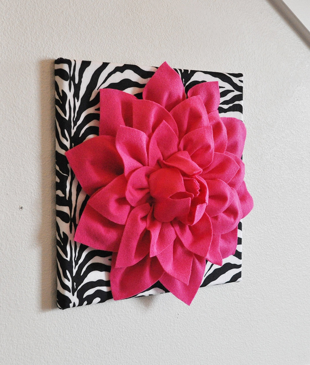 Hot Pink Wall Hanging -Hot Pink Dahlia on Zebra Print 12 x12