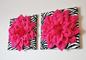 "Hot Pink Wall Hanging -Hot Pink Dahlia on Zebra Print 12 x12"" Canvas Wall Art- Baby Nursery Wall Decor- - Daisy Manor"