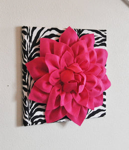 "Hot Pink Wall Hanging -Hot Pink Dahlia on Black and White Damask Print 12 x12"" Canvas Wall Art- Baby Nursery Wall Decor- - Daisy Manor"