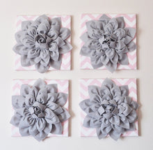 "Load image into Gallery viewer, Wall Hanging -Set Of Four Gray Dahlia Flowers on Light Pink and White Chevron 12 x12"" Canvases Wall Art- 3D Felt Flower - Daisy Manor"