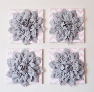 "Wall Hanging -Set Of Four Gray Dahlia Flowers on Light Pink and White Chevron 12 x12"" Canvases Wall Art- 3D Felt Flower - Daisy Manor"