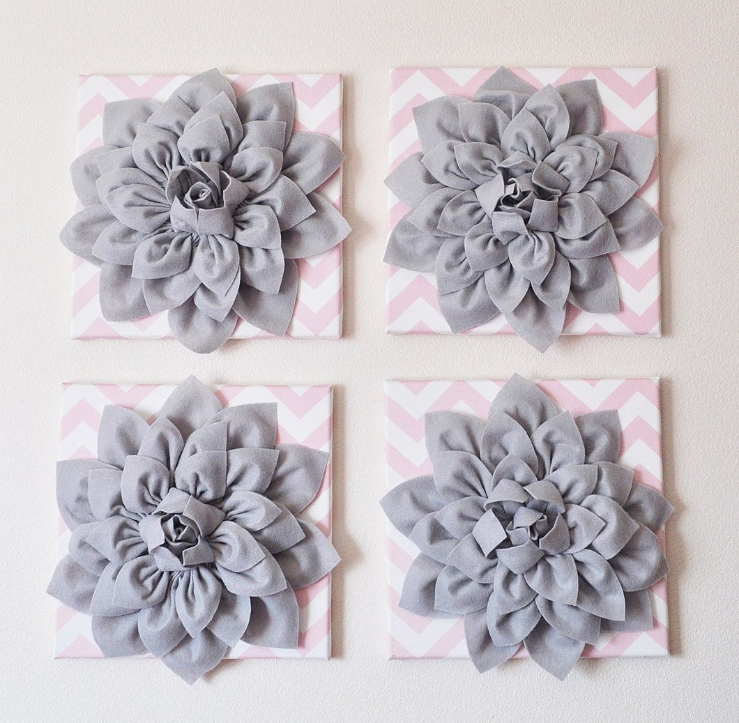 Wall Hanging -Set Of Four Gray Dahlia Flowers on Light Pink and White Chevron 12 x12