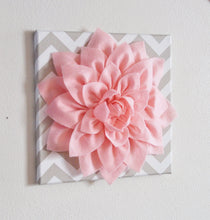 "Load image into Gallery viewer, Two Wall Flowers -Light Pink Dahlia on Taupe and White Chevron 12 x12"" Canvas Wall Art- Baby Nursery Wall Decor- - Daisy Manor"