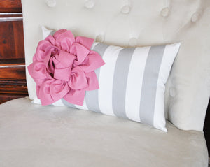 Stripe Lumbar Pillow Coral Dahlia on Gray and White Striped Lumbar Pillow 9 x 16 - Daisy Manor