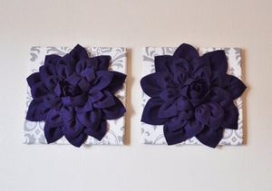 "Two Wall Flowers -Deep Purple Dahlia on White and Gray Damask 12 x12"" Canvas Wall Art- Baby Nursery Wall Decor- - Daisy Manor"