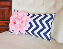 Load image into Gallery viewer, Light Pink and Navy Pillow - Daisy Manor