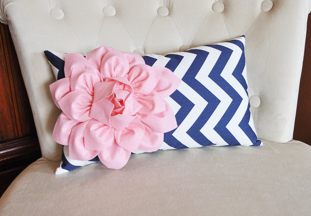 Light Pink and Navy Pillow - Daisy Manor