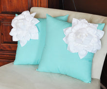 Load image into Gallery viewer, White Corner Dahlia on Bright Aqua Pillow 14 X 14 Aqua Blue Pillow Toss Pillow Decorative Pillow - Daisy Manor