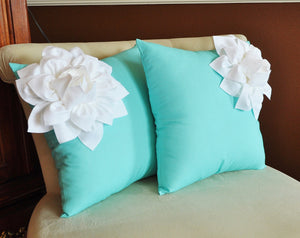 Two Decorative Pillows White Corner Dahlia on Aqua Blue Pillows -Aqua Blue Pillow- Decorative Pillows- - Daisy Manor