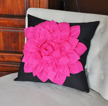 Load image into Gallery viewer, Pillows - Hot Pink Dahlia Flower on Black Pillow - Daisy Manor