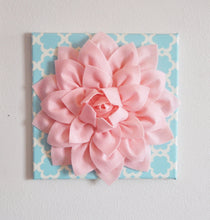 "Load image into Gallery viewer, Wall Flower -Light Pink Dahlia on Blue Tarika 12 x12"" Canvas Wall Art- Baby Nursery Wall Decor- - Daisy Manor"