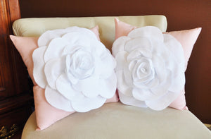 Throw Pillow White Rose on Light Pink Pillow 14x14 - Daisy Manor