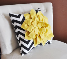 Load image into Gallery viewer, Mellow Yellow Dahlia on Black and White Zigzag Pillow -Chevron Pillow- - Daisy Manor