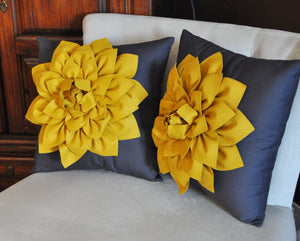 Two Decorative Flower Pillows -Mustard Yellow Dahlias on Charcoal Grey Pillows 14 X 14 - Daisy Manor