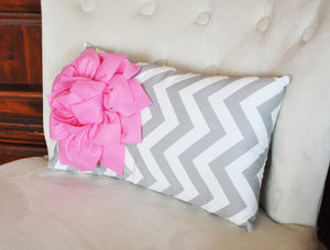 Decorative Lumbar Pillow Pink Dahlia on Gray and White Zig Zag Chevron Lumbar Pillow 9 x 16 - Daisy Manor
