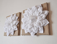 "Load image into Gallery viewer, Two Wall Flowers -White Dahlias on Burlap 12 x12"" Canvas Wall Art- Rustic Home Decor- - Daisy Manor"