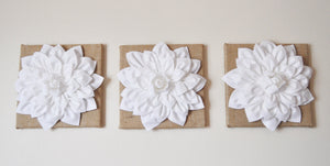 "Set of Three White Dahlias on Burlap 14 x14"" Canvas - Daisy Manor"