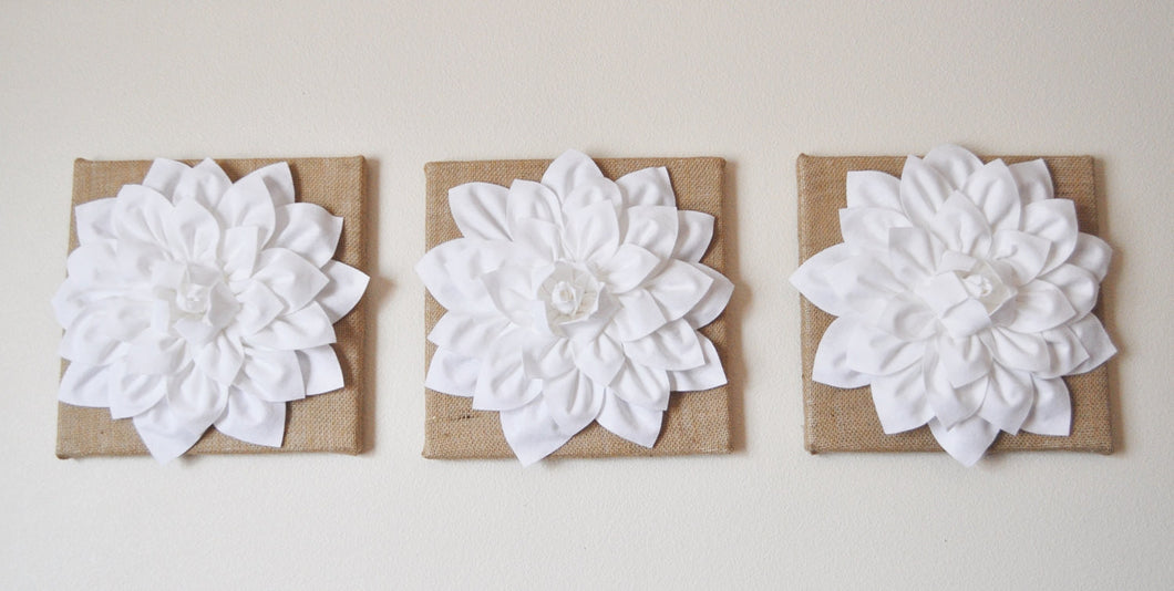 Set of Three White Dahlias on Burlap 14 x14