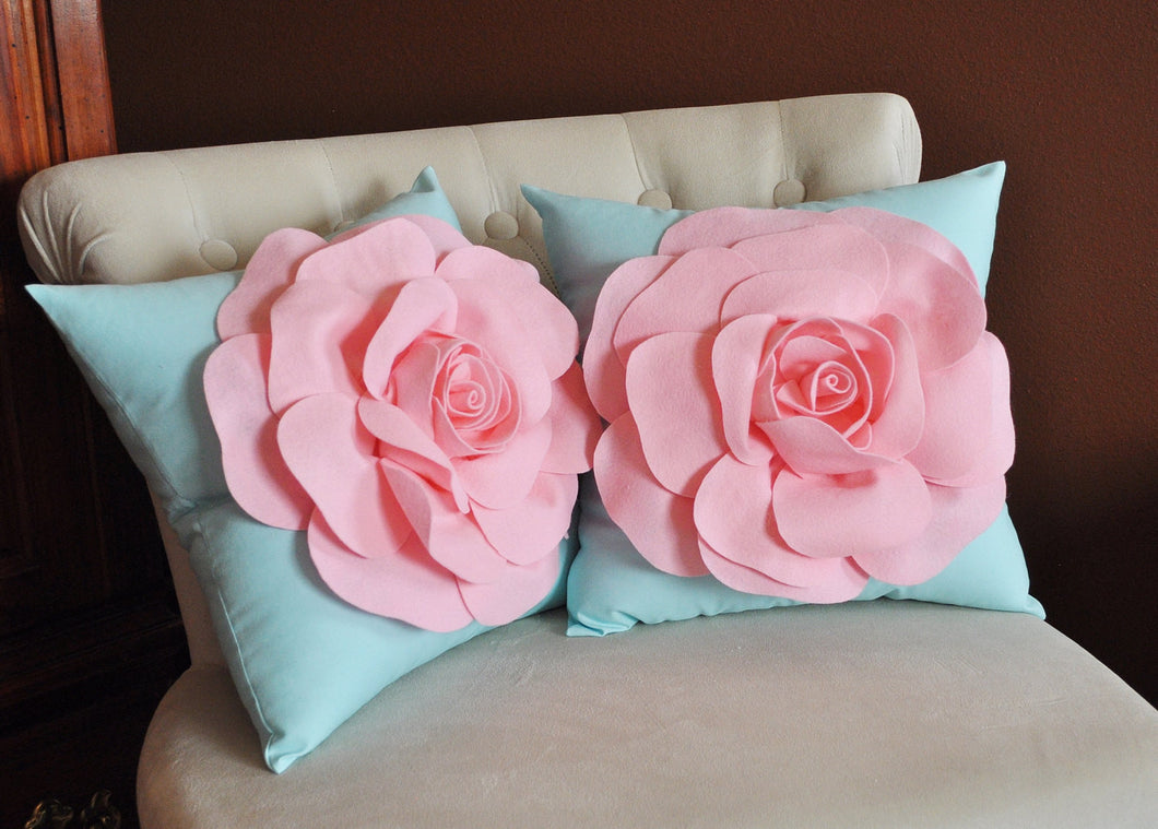 Set Of Two Decorative Rose Pillows -Light Pink Roses on Light Aqua Pillows 14 X 14 - Daisy Manor