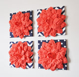 "MOTHERS DAY SALE Wall Flower -Coral Dahlia on Navy and White Polka Dot 12 x12"" Canvas Wall Art- 3D Felt Flower"