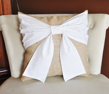 Load image into Gallery viewer, White Bow Burlap Pillow - Daisy Manor