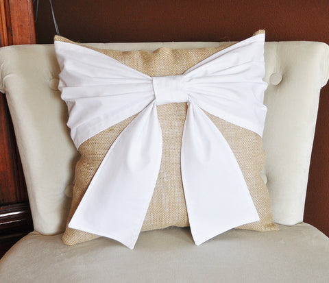 White Bow Burlap Pillow