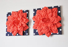 "Load image into Gallery viewer, Two Wall Flower -Coral Dahlia on Navy and White Polka Dot 12 x12"" Canvas Wall Art- Flower Wall Art - Daisy Manor"