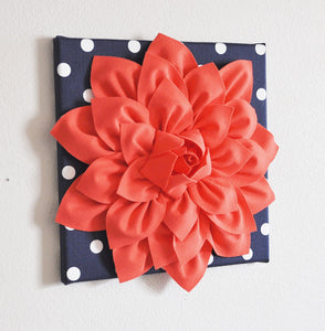 "Two Wall Flower -Coral Dahlia on Navy and White Polka Dot 12 x12"" Canvas Wall Art- Flower Wall Art - Daisy Manor"