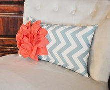 Load image into Gallery viewer, Lumbar Pillow Coral Dahlia on Blue and Natural Zig Zag Lumbar Pillow 9 x 16- Decorative Pillow - Daisy Manor