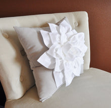 Load image into Gallery viewer, Two Decorative Pillows Flower Pillows -White Dahlias on Gray Pillows 14 X 14 Toss Pillow Throw Pillows - Daisy Manor