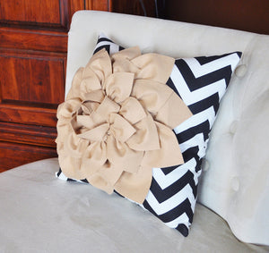 Taupe Flower on Black Chevron Pillow - Daisy Manor