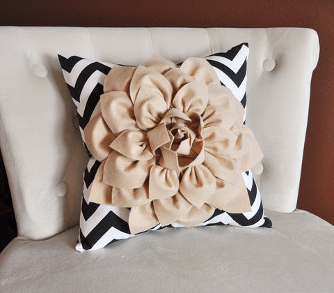 Taupe Flower on Black Chevron Pillow