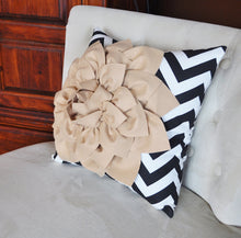 Load image into Gallery viewer, Taupe Flower on Black Chevron Pillow - Daisy Manor