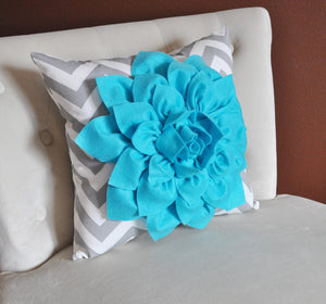 Turquoise Dahlia on Gray and White Zigzag Pillow -Chevron Pillow- Toss Pillow Modern Pillow 16 x 16 - Daisy Manor