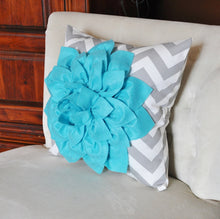 Load image into Gallery viewer, Turquoise Dahlia on Gray and White Zigzag Pillow -Chevron Pillow- Toss Pillow Modern Pillow 16 x 16 - Daisy Manor