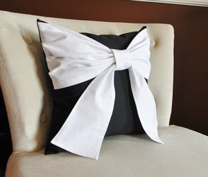 Black and White Big Bow Pillow Decorative Throw Pillow - Daisy Manor