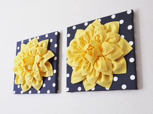 "Two Yellow Dahlia Flowers on Navy and White Polka Dot 12 x12"" Canvases - Daisy Manor"