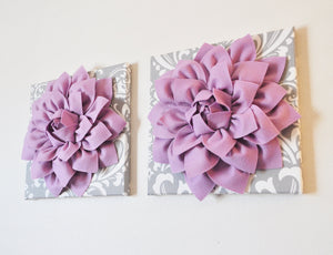 Two Lavender Dahlias on White and Gray Damask Canvases - Daisy Manor