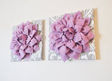 "Load image into Gallery viewer, Two Wall Flowers -Lilac Purple Dahlia on Gray and White Damask 12 x12"" Canvas Wall Art- Baby Nursery Wall Decor- - Daisy Manor"