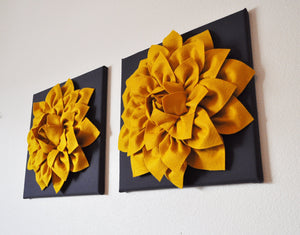 "Two Flower Wall Hangings -Mustard Dahlia on Charcoal 12 x12"" Canvas Wall Art- 3D Felt Flower - Daisy Manor"