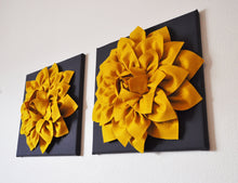 "Load image into Gallery viewer, Two Flower Wall Hangings -Mustard Dahlia on Charcoal 12 x12"" Canvas Wall Art- 3D Felt Flower - Daisy Manor"