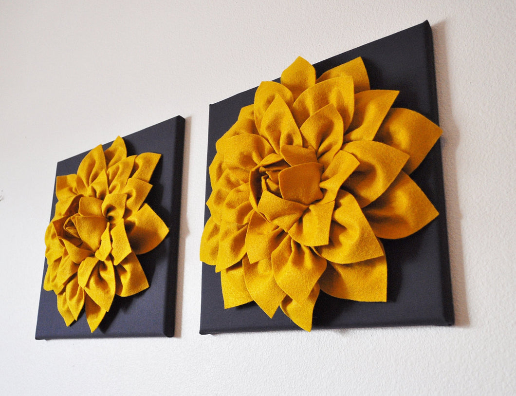 Two Flower Wall Hangings -Mustard Dahlia on Charcoal 12 x12